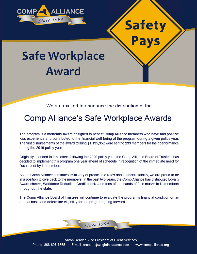 Safe Workplace Award Announcement 2 10 21