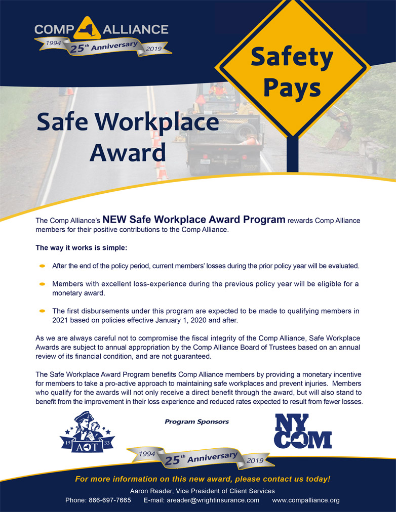 Safe Workplace Award Sheet Nov 2019